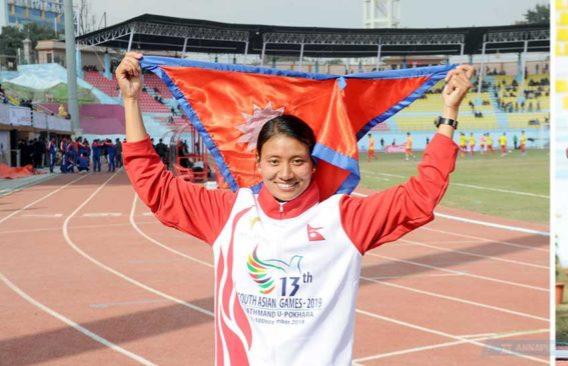 सन्तोषीबनिन् एथलेटिक्सतर्फ स्वर्ण पदक जित्ने पहिलो नेपाली चेली