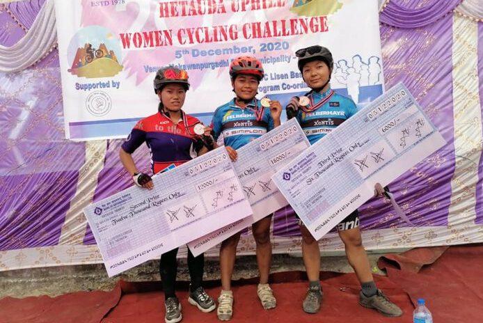 महिला साइक्लिङ प्रतियोगितामा हुमी बुढा मगर प्रथम स्थानमा