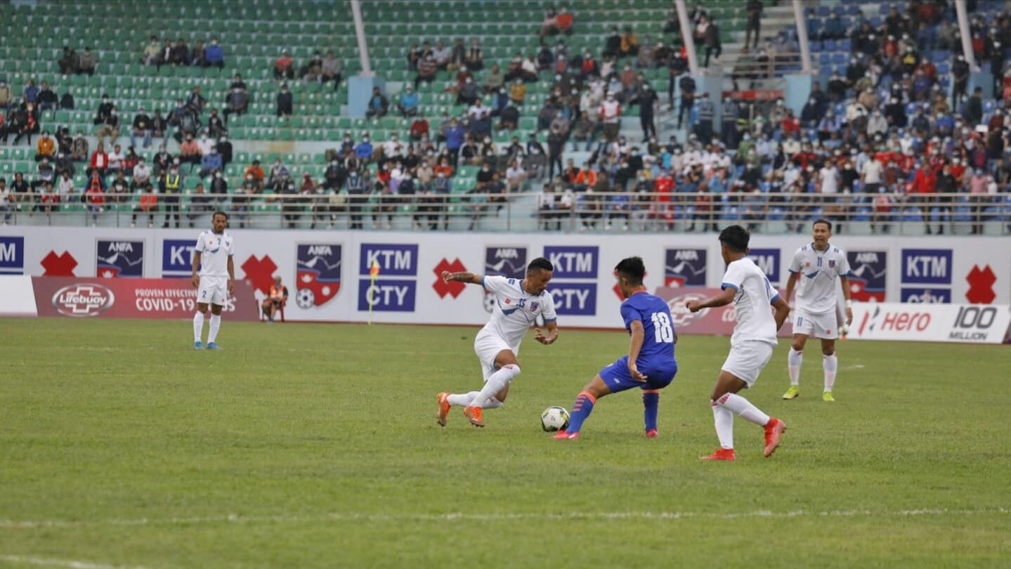 भारतसँगको दोस्रो मैत्रीपुर्ण खेलमा नेपाल २–१ ले पराजित