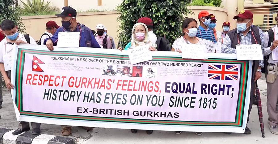 भूपू ब्रिटिश गोर्खा सैनिकहरुद्वारा संसद भवन अगाडी प्रदर्शन